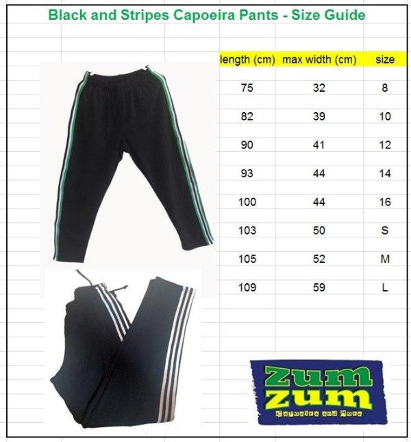 Capoeira Training Pants - Narrow Leg - Black-White - Unisex and Kids - ZumZum Capoeira Shop