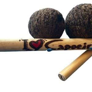 I Heart Capoeira Pyrographed Agogo de Castanha - Authentic Handmade - ZumZum Capoeira Shop