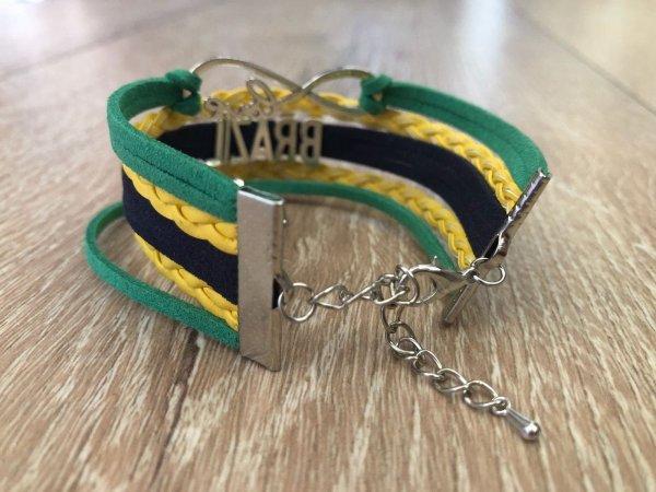 I Love Brazil - Suede and Metal Bracelet - Flag Colors - ZumZum Capoeira Shop