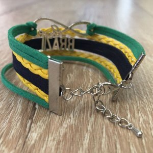 I Love Brazil - Suede and Metal Bracelet - Flag Colors - ZumZum Capoeira Shop