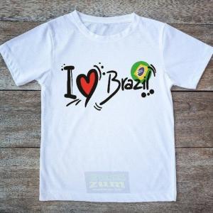 """Printed White T-Shirt - """"I Love Brazil"""" - 100% Cotton - Unisex - ZumZum Capoeira Shop"""