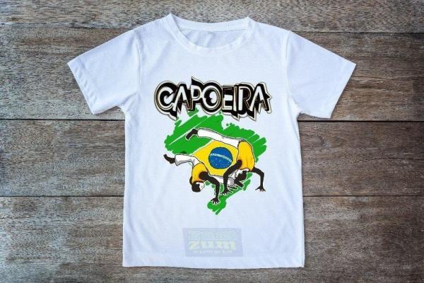 "Printed White T-Shirt - ""Capoeira Map of Brazil"" - Unisex Adults and Kids - ZumZum Capoeira Shop"