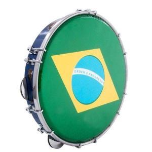 "10"" Brazilian Pandeiro - Brazilian Flag Holograme - ZumZum Capoeira Shop"