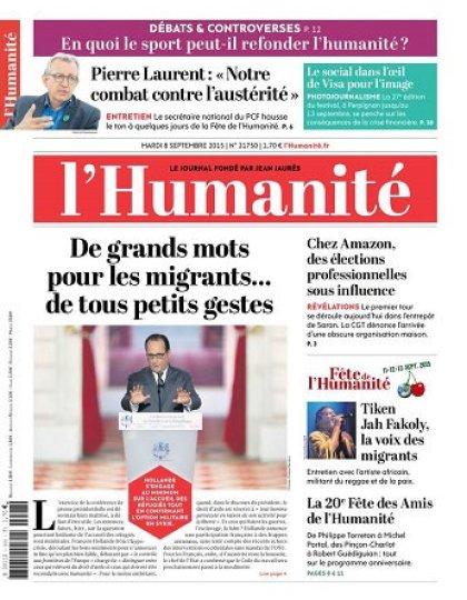 L'Humanite Du Mardi 08 Septembre 2015