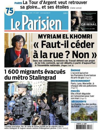 Le Parisien + Journal de Paris du mardi 03 mai 2016