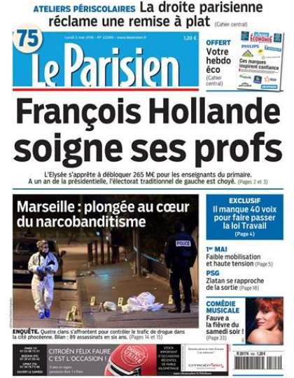 Le Parisien + Journal de Paris + supplément économie du lundi 02 mai 2016