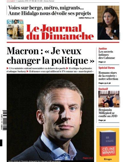 Le Journal du Dimanche N°3634 du 04 Septembre 2016