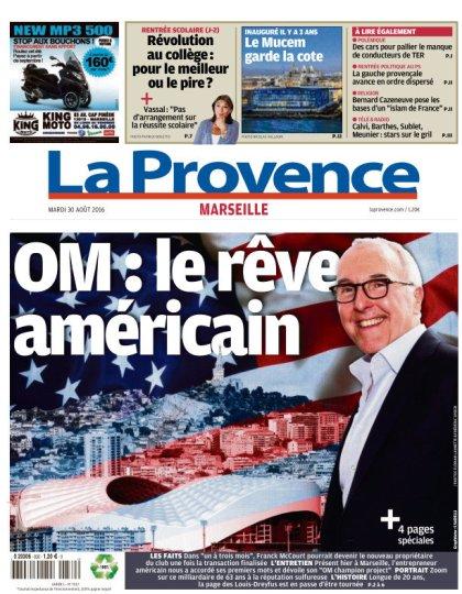 La Provence Marseille du mardi 30 aout 2016