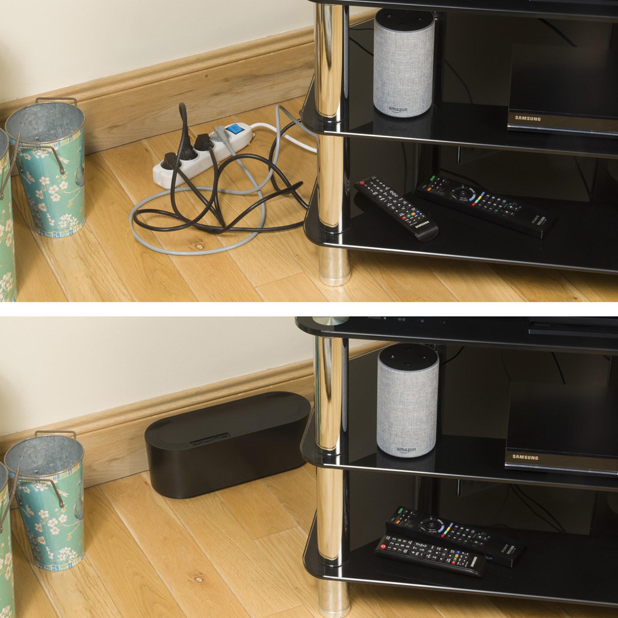 D Line Boite De Rangement De Cables Boite Cache Cable Garder Ranger Les Cables Noir Petite Boite Pour Les Blocs A 4 Prises Cdiscount Bricolage