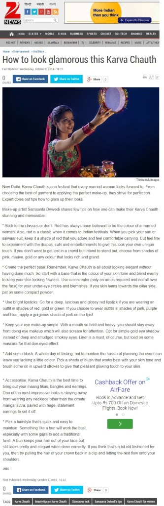 Karwa Chauth article on Zee News