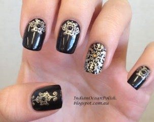 Nail art designs inspired by Indian motifs 03