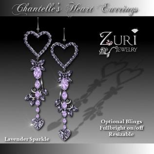Chantelle's Heart Earrings- Lavender Sparkle