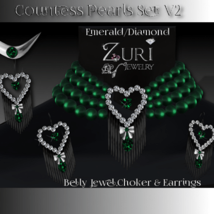 Countess Pearls Set V2-Emerald-Diamond