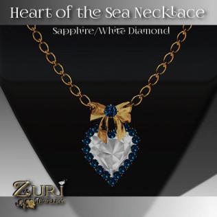 Heart of the Sea Necklace-Sapphire-White Diamond