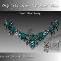 Only You Rose V2 Head Piece-Teal-Blk Sterling
