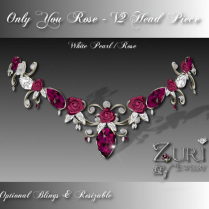 Only You Rose V2 Head Piece-White Pearl-Rose
