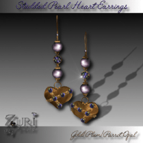Studded Pearl Heart Earrings-Plum Gold Parrot Opal