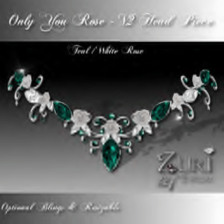 Zuri Rayna- Only You Rose V2 Head Piece-Teal_WhitePIC