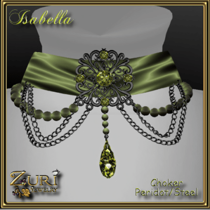 Isabella Choker in Peridot and Steel