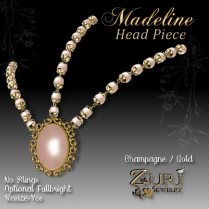 Madeline Head Piece-Champagne-Gold