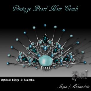 Vintage Pearl Comb- Aqua-Alexandrite