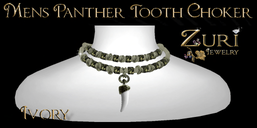 Mens panther tooth choker ivory