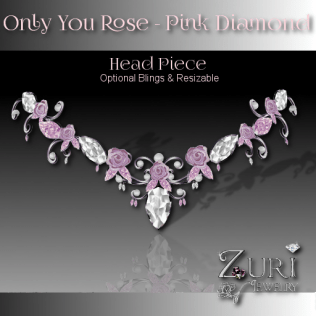 Only You Rose Pink Diamond Head Piece