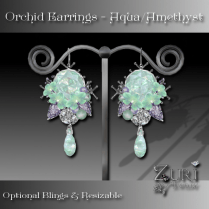 Orchid Earrings - Aqua Opal_Amethyst
