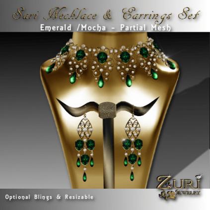 Sari Necklace & Earrings Set-Emerald-Mocha