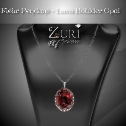 Fleur Pendant - Lava Boulder Opal