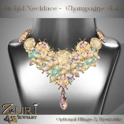 Orchid Necklace Champagne-Gold