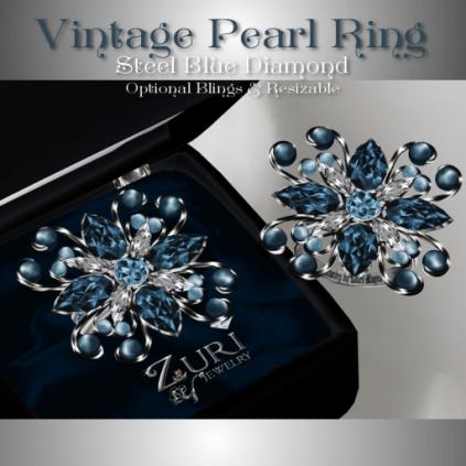 Vintage Pearl Ring - Steel Blue Diamond