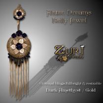 Aztec Dreams Belly Jewel - Dark Amethyst-Gold