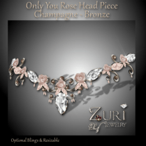 Only You Rose Head Piece - Champagne-Bronze