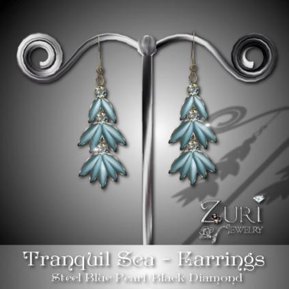 Tranquil Earrings - Steel Blue-Black Diamond