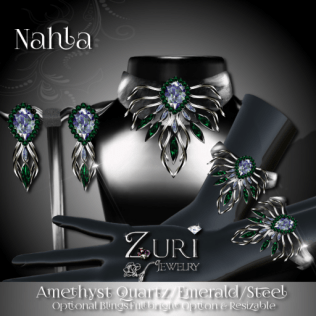 Zuri Rayna - Nahla Set-Amethyst Quartz_ Emerald_SteelPIC