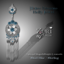 Zuri Rayna~Aztec Belly Jewel - Steel Blue-SterlingPIC