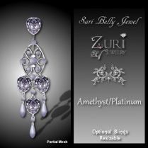 Zuri Rayna~Sari Belly Jewel - Amethyst-platinumPIC