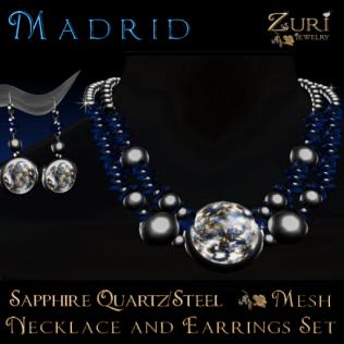 50% CDown Sale~Madrid Jewelry Set-Sapphire_Quartz_Steel
