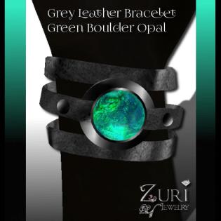 55L Grey Leather Bracelet-Green Boulder Opal