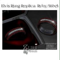 Elvis Ring Replica- Ruby-Steel
