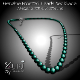 Genuine Frosted Pearls Necklace-Alexandrite-Blk Sterling