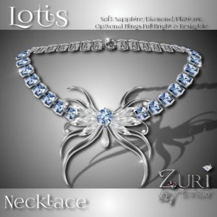 Lotis Necklace - Soft Sapphire-Diamond-Platinum