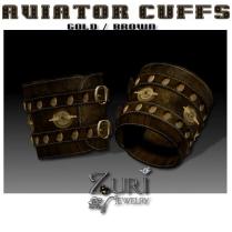 Unisex Aviator Cuffs-Gold-brown