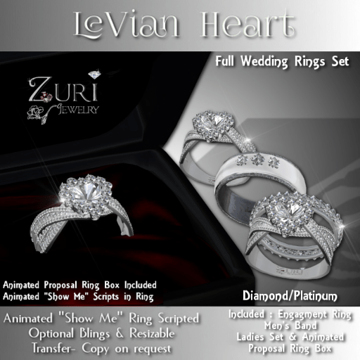 Zuri Rayna - LeVian Heart Wedding Rings Full Set - Dia_PlatPIC
