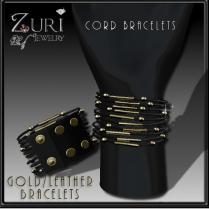 Zuri Rayna~Cord Bracelets- Gold Leather