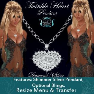 Zuri's Twinkle Heart Diamond_Silver Pendant BoxedPIC