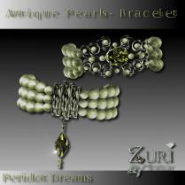 CD SALE- Antique Pearls Bracelet-Peridot Dreams