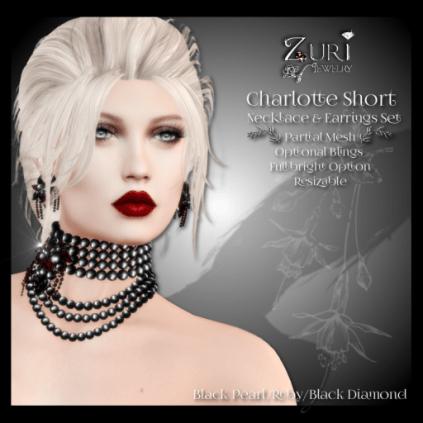 Charlotte Choker Set - Blk Pearl_Blk Dia_Ruby