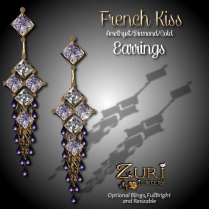 French Kiss - Earrings - Amethyst_Diamond_Gold